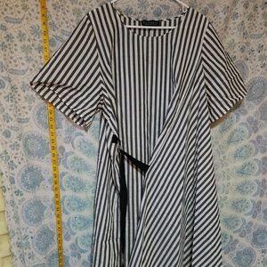Eloquii Grey and White Striped wrap dress